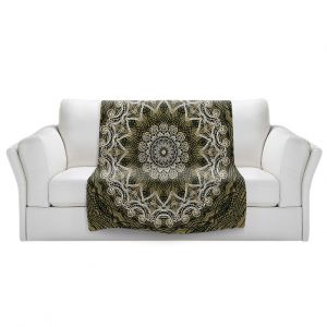 Artistic Sherpa Pile Blankets | Angelina Vick - Medallion 5 Olive | mandala circle geometric pattern
