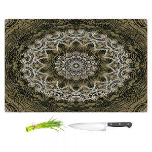Artistic Kitchen Bar Cutting Boards | Angelina Vick - Medallion 5 Olive | mandala circle geometric pattern
