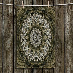 Unique Bathroom Towels | Angelina Vick - Medallion 5 Olive | mandala circle geometric pattern