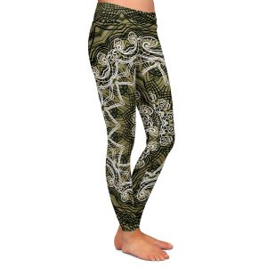 Casual Comfortable Leggings | Angelina Vick - Medallion 5 Olive | mandala circle geometric pattern