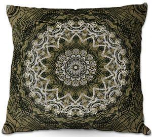 Throw Pillows Decorative Artistic   Angelina Vick - Medallion 5 Olive   mandala circle geometric pattern