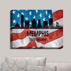 Decorative Canvas Wall Art   Angelina Vick - City VI Memphis Tennessee   City Skyline American Flag Stars and Stripes