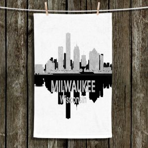 Unique Hanging Tea Towels | Angelina Vick - City IV Milwaukee Wisconsin | City Skyline Mirror Image