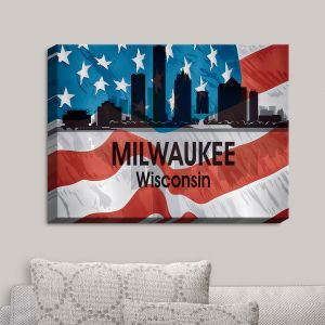 Decorative Canvas Wall Art | Angelina Vick - City VI Milwaukee Wisconsin | City Skyline American Flag Stars and Stripes