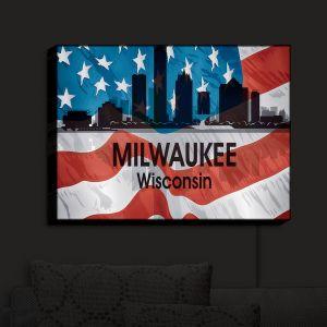 Nightlight Sconce Canvas Light | Angelina Vick - City VI Milwaukee Wisconsin | City Skyline American Flag Stars and Stripes