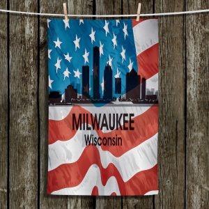 Unique Hanging Tea Towels | Angelina Vick - City VI Milwaukee Wisconsin | City Skyline American Flag Stars and Stripes