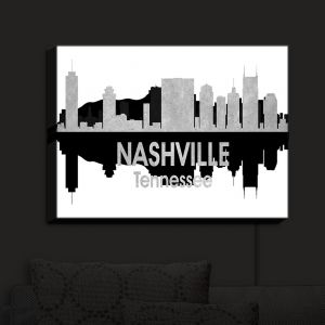 Nightlight Sconce Canvas Light | Angelina Vick - City IV Nashville Tennessee | City Skyline Mirror Image