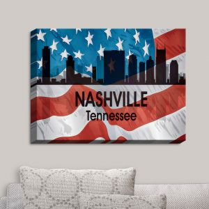 Decorative Canvas Wall Art | Angelina Vick - City VI Nashville Tennessee | City Skyline American Flag Stars and Stripes