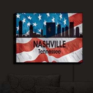 Nightlight Sconce Canvas Light | Angelina Vick - City VI Nashville Tennessee | City Skyline American Flag Stars and Stripes