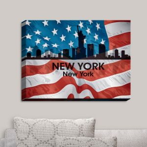 Decorative Canvas Wall Art | Angelina Vick - City VI New York New York | City Skyline American Flag Stars and Stripes