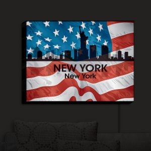 Nightlight Sconce Canvas Light | Angelina Vick - City VI New York New York | City Skyline American Flag Stars and Stripes