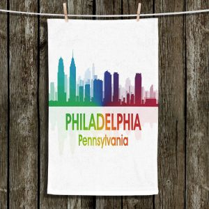 Unique Hanging Tea Towels | Angelina Vick - City I Philadelphia Pennsylvania | Skyline Downtown Philly Colorful