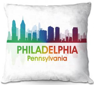 Decorative Outdoor Patio Pillow Cushion | Angelina Vick - City I Philadelphia Pennsylvania