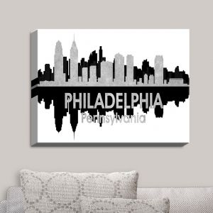 Decorative Canvas Wall Art | Angelina Vick - City IV Philadelphia Pennsylvania | City Skyline Mirror Image