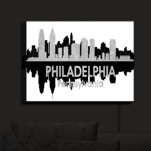 Nightlight Sconce Canvas Light | Angelina Vick - City IV Philadelphia Pennsylvania | City Skyline Mirror Image