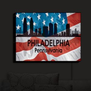 Nightlight Sconce Canvas Light | Angelina Vick - City VI Philadelphia Pennnsylvania | City Skyline American Flag Stars and Stripes