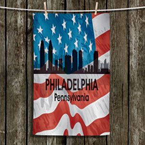 Unique Hanging Tea Towels | Angelina Vick - City VI Philadelphia Pennnsylvania | City Skyline American Flag Stars and Stripes