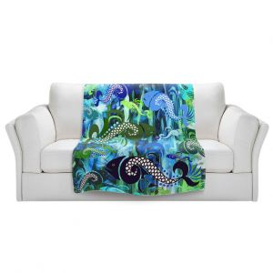 Artistic Sherpa Pile Blankets   Angelina Vick - Plenty of Fish Abstract 1   Ocean water nature