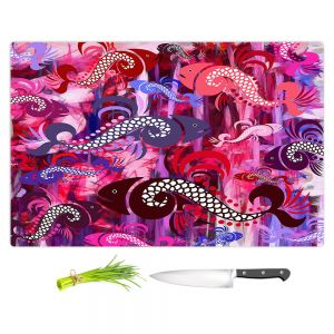 Artistic Kitchen Bar Cutting Boards | Angelina Vick - Plenty of Fish Abstract 3 | Ocean water nature