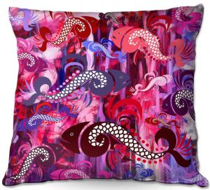 Decorative Outdoor Patio Pillow Cushion | Angelina Vick - Plenty of Fish Abstract 3 | Ocean water nature
