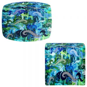 Round and Square Ottoman Foot Stools | Angelina Vick - Plenty of Fish in the Sea I