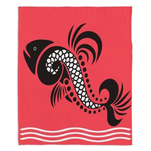 Artistic Sherpa Pile Blankets | Angelina Vick - Plenty of Fish in the Sea 6 | Ocean water nature graphic