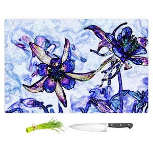 Artistic Kitchen Bar Cutting Boards | Angelina Vick - Poetry Motion Blue | flower abstract digital