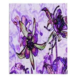 Artistic Sherpa Pile Blankets | Angelina Vick - Poetry Motion Purple | flower abstract digital