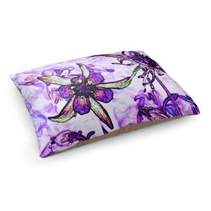 Decorative Dog Pet Beds | Angelina Vick - Poetry Motion Purple | flower abstract digital