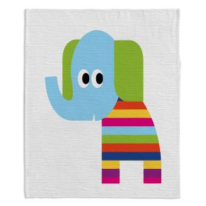 Artistic Sherpa Pile Blankets | Angelina Vick - Rainbow Elephant | Children colorful animal nature