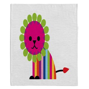 Decorative Fleece Throw Blankets | Angelina Vick - Rainbow Lion | Children colorful animal nature