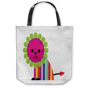 Unique Shoulder Bag Tote Bags   Angelina Vick - Rainbow Lion   Children colorful animal nature