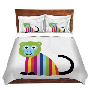 Artistic Duvet Covers and Shams Bedding | Angelina Vick - Rainbow Monkey | Children colorful animal nature