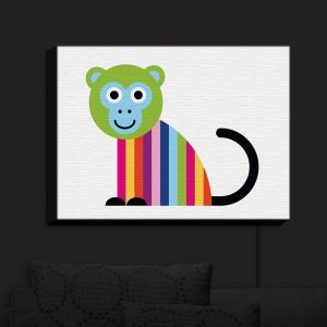 Nightlight Sconce Canvas Light | Angelina Vick - Rainbow Monkey