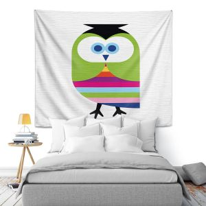 Artistic Wall Tapestry | Angelina Vick - Rainbow Owl | Children colorful animal nature