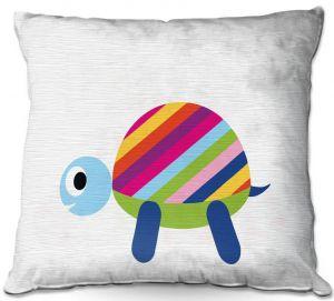 Decorative Outdoor Patio Pillow Cushion | Angelina Vick - Rainbow Turtle | Children colorful animal nature