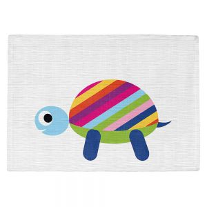 Countertop Place Mats | Angelina Vick - Rainbow Turtle | Children colorful animal nature