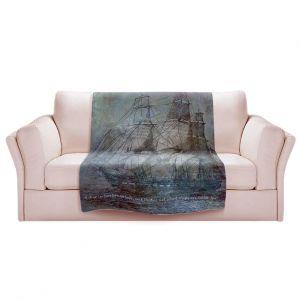 Artistic Sherpa Pile Blankets | Angelina Vick - Sailboat Quote 1 | Schooner ship ocean pirate captain sea
