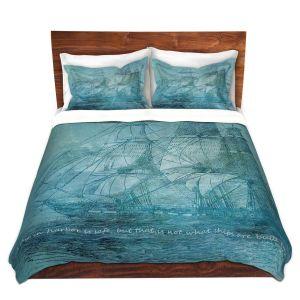 Artistic Duvet Covers and Shams Bedding | Angelina Vick - Sailboat Quote 1 | Schooner ship ocean pirate captain sea