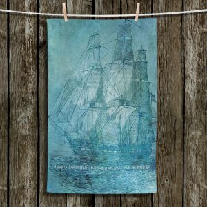Unique Hanging Tea Towels | Angelina Vick - Sailboat Quote 1 | Schooner ship ocean pirate captain sea