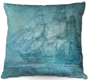 Throw Pillows Decorative Artistic | Angelina Vick - Sailboat Quote 1 | Schooner ship ocean pirate captain sea