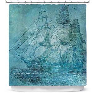 Premium Shower Curtains | Angelina Vick - Sailboat Quote 1 | Schooner ship ocean pirate captain sea