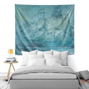 Artistic Wall Tapestry   Angelina Vick - Sailboat Quote 1   Schooner ship ocean pirate captain sea
