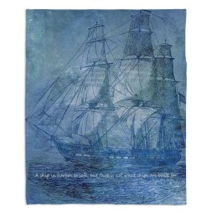 Decorative Fleece Throw Blankets | Angelina Vick - Sailboat Quote 2 | Schooner ship ocean pirate captain sea