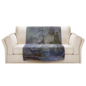 Artistic Sherpa Pile Blankets | Angelina Vick - Sailboat Quote 2 | Schooner ship ocean pirate captain sea