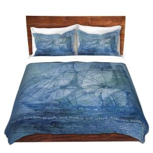 Artistic Duvet Covers and Shams Bedding | Angelina Vick - Sailboat Quote 2 | Schooner ship ocean pirate captain sea