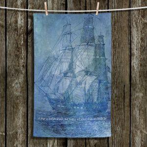Unique Hanging Tea Towels | Angelina Vick - Sailboat Quote 2 | Schooner ship ocean pirate captain sea