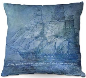 Throw Pillows Decorative Artistic | Angelina Vick - Sailboat Quote 2 | Schooner ship ocean pirate captain sea