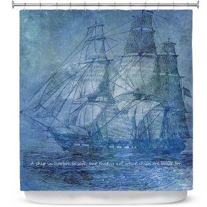 Premium Shower Curtains | Angelina Vick - Sailboat Quote 2 | Schooner ship ocean pirate captain sea