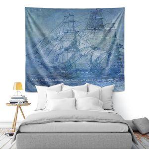 Artistic Wall Tapestry   Angelina Vick - Sailboat Quote 2   Schooner ship ocean pirate captain sea
